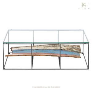 KLEO Glazen Salon Tafel reclaimed hout