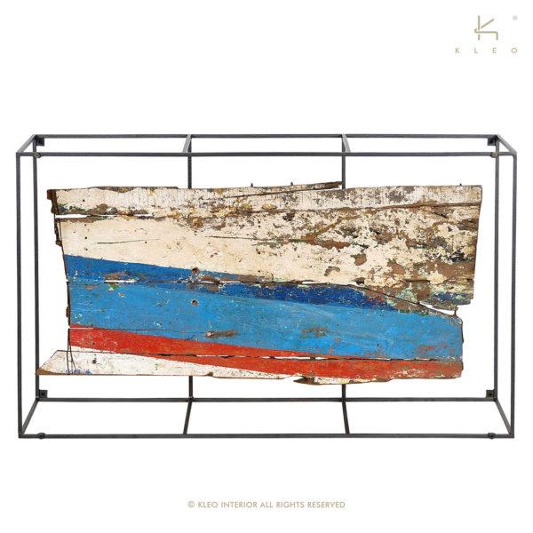 KLEO Glazen Salon Tafel met hout uit oude boten