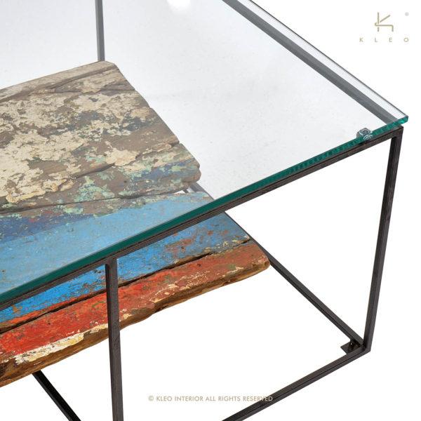 KLEO Glazen Salon Tafel met Boot Hout